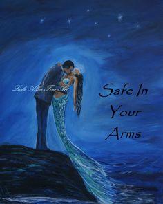 Couple Mermaid Painting Mermaids Man Kissing by LeslieAllenFineArt, $15.00