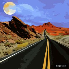 A long road to an unknown destination. Adult Coloring, Coloring Books, Mount Everest, Mountains, Digital, World, Travel, Paintings, Draw