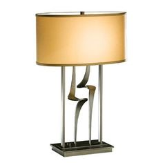 "Hubbardton Forge Antasia 24.7"" Table Lamp Finish: Black, Shade Color: Terra Micro-suede, Shade Type: Oval Drum"