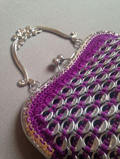 Crocheted purple soda tab purse