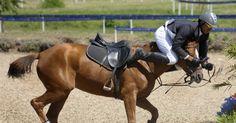 Venezuelano Eduardo Salas é traído pelo cavalo e vai parar sobre a cabeça do animal durante a disputa do pentatlo moderno, no segundo dia do Pan-2011 http://uol.com/bjcyN0