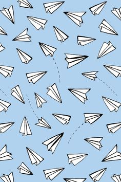 Paper Planes on Blue Art Print