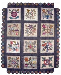 Another pretty wool applique    like the pennies for the border nice idea