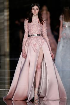 Long A line dress in powder pink silk mikado featuring a high slit and an embroidered sheer bodice | Couture Spring 2015