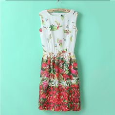 Floral dresses retro round collar sleeveless clothes ND-N1014