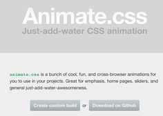 http://daneden.me/animate:  Some great css animation material to make css animations easy.