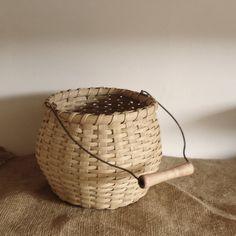basket Handwoven handmade basket vintage basket by RaggedyRee, $26.00