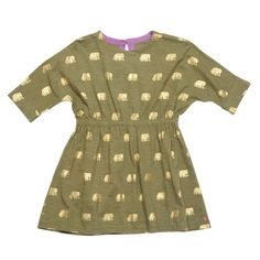 Golden Elephants Hadley Girls Dress by Pink Chicken