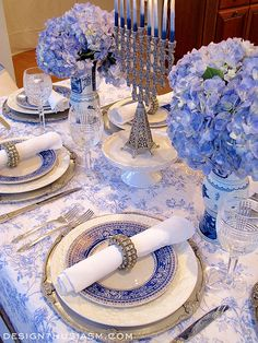 French Blue & White Holiday Table Setting for Hanukkah. Stunning!