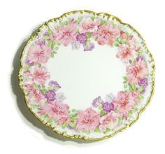 Vintage Limoges Jean Pouyat JP Hand Decorated Pink Floral Cabinet from oralloinc on Ruby Lane $70