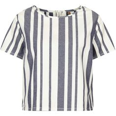 TOPSHOP MOTO Denim Stripe Tee ($15) ❤ liked on Polyvore featuring tops, t-shirts, shirts, topshop, tees, white, crop t shirt, white t shirt, white crop tee and white striped shirt