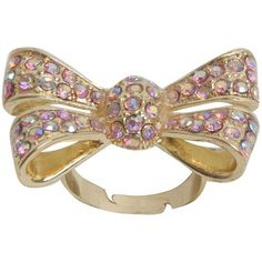 Lipsy Large Diamante Bow Ring ($6.20) ❤ liked on Polyvore featuring jewelry, rings, accessories, anillos, anel, women, druzy ring, drusy jewelry, bow ring and lipsy