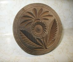 1800's Carved Wood Butter Stamp ~~ Sunflower
