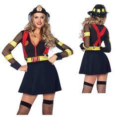 Womens Red Hot Fire Captain Costume – Fireman Costume – Firewoman Costume