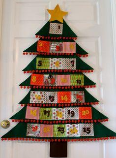 Felt Christmas Tree Pocket Advent Calendar/ by kissandapeck