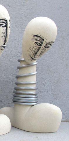 Ceramic Sculpture, Ceramic bust sculpture bald beautiful woman