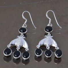 BLACK ONYX 925 STERLING SILVER LADIS EARRING 6.21g DJER3323 #Handmade #EARRING