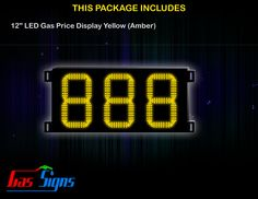 12 Inch 888 LED Gas Price Display Yellow with housing dimension H400mm x W724mm x D55mmand format 888 comes with complete set of Control Box, Power Cable, Signal Cable & 2 RF Remote Controls (Free remote controls).