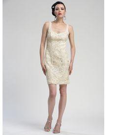 96df80ea1f6 Champagne Lace Square Neck Cocktail Dress - Unique Vintage - Prom dresses
