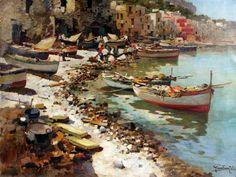Felice Giordano (Napoli 1880 - Capri 1964) Marina di Capri. Landscape Art, Landscape Paintings, Italian Paintings, Boat Painting, Historical Art, Beach Scenes, Contemporary Paintings, Fine Art, Beautiful Flowers