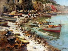 Felice Giordano (Napoli 1880 - Capri 1964) Marina di Capri.