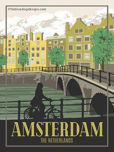 Amsterdam The Netherlands - Vintage Travel Poster Art Deco Posters, Vintage Travel Posters, Vintage Postcards, Poster Prints, Gig Poster, Retro Posters, Vintage Ski, Movie Posters, Philippines Travel