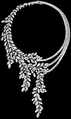 Piaget Limelight Garden Diamond Garland Necklace - 18K white gold set with 468 brilliant-cut diamonds, 40 marquise-cut diamonds and 2 brilliant-cut diamonds.