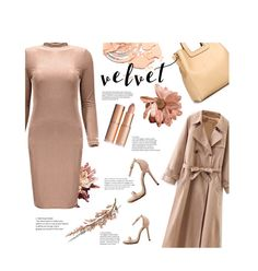 """Nude velvet"" by stellina-from-the-italian-glam ❤ liked on Polyvore"