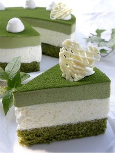 Green Tea and White Chocolate Mousse Cake.  Not only is this a stunning cake - I think it maybe the perfect way to try matcha.  Will need to translate ingred from grams.