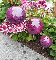 Pflanzstecker 3er Set Aus Edelstahl Mit Kugeln In Marmor Violette  Beetstecker Gartenstecker   Garten Ideen Gestaltung