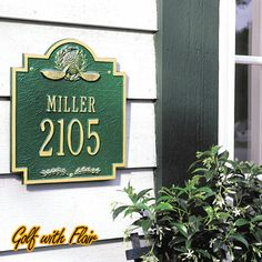 Golf Emblem & Golf Clubs House Signs Personalized golf house sign with golf emblem. Made in U.S.A. of recycled aluminum. Finished to withstand the harshest of weather elements. Available with 1 or 2 lines for your address.
