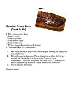 Steak & Ale: Bourbon Street Streak Copycat Recipes, Beef Recipes, Cooking Recipes, Bourbon Street Steak Recipe, Steak And Ale, Top Secret Recipes, Marinade Sauce, Strip Steak, Food Trends