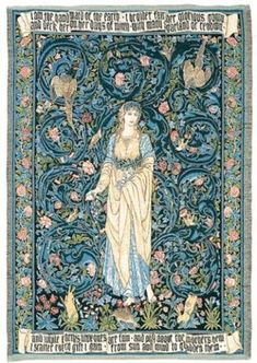 jacquard woven belgian gobelin wall tapestry Flora by William Morris wal hanging wall decor Tapestry Fabric, Tapestry Weaving, Woven Wall Hanging, Tapestry Wall Hanging, Artist And Craftsman, Arts And Crafts Movement, Museum Collection, Jacquard Weave, William Morris
