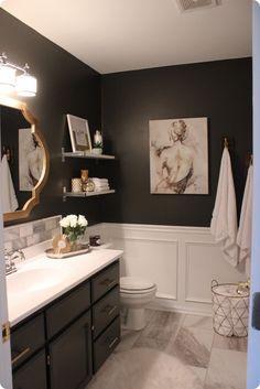 45 Beautiful Urban Farmhouse Master Bathroom Makeover - Home Decor Ideas Dark Bathrooms, Upstairs Bathrooms, Beautiful Bathrooms, Master Bathroom, Small Bathroom, Paint For Bathroom Walls, Bathroom Wall Colors, Bathroom Showers, Vintage Bathrooms