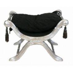 Bench (or Dagobert) black fabrics and silvered wood - 99 Euros (French VAT…