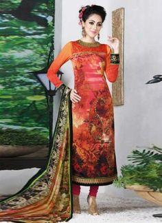 Epitome Orange French Digital Printed Churidar Suit In Fiji http://www.angelnx.com/Salwar-Kameez/Churidar-Suits