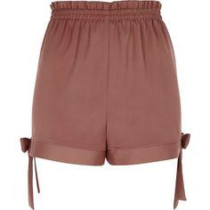 River Island Brown bow hem shorts ($50) ❤ liked on Polyvore featuring shorts, brown, casual shorts, women, tall shorts, bow shorts, brown shorts, stretch waist shorts and elastic waistband shorts
