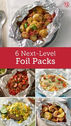 Foil Packs That Reinvent Grilling Trust us, you can't get your grill started fast enough. These foil packs have been the talk of the Betty Crocker Kitchens and they'll be your family's new favorites in no time. Tin Foil Dinners, Foil Packet Dinners, Foil Pack Meals, Grilling Recipes, Cooking Recipes, Healthy Recipes, Grill Meals, Healthy Meals, Grilling Ideas