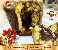 Panettones e Chocottones Trufados e com cobertura de chocolate meio amargo.