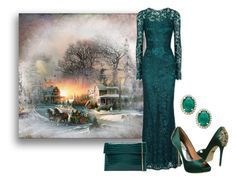"""Winter Gown"" by sjlew ❤ liked on Polyvore featuring Dolce&Gabbana and Urban Expressions"