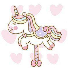 Historieta linda del caballo del carrusel del vector del unicornio