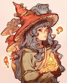 character art The Witch amp; her familiar. Comment a name for this character! Lil Backstory: The Mushroom witch is a student studying healing magic. Art Inspo, Kunst Inspo, Inspiration Art, Character Inspiration, Character Art, Animation Character, Character Sketches, Tattoo Character, Fantasy Character Design
