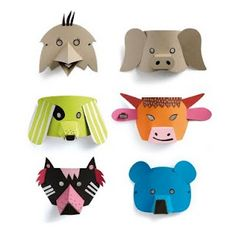 These recycled cardboard animal masks look like great fun