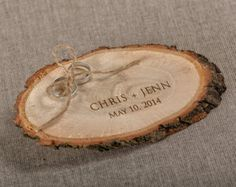 Engraved Wood Wedding Ring Bearer Slice Rustic by forlovepolkadots