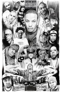 Rap Gods Poster Rappers  Tupac Dr. Dre Eminem Ice Cube Snoop Wall Art Large Maxi