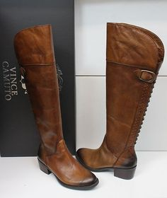 WANT: Vince Camuto Bollo Rich Cocoa brown leather studded tall boots