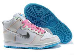 Chaussures Nike Dunk High Blanc  Rose  Bleu  Argent  nike 11819  - € 0072d4c50948c