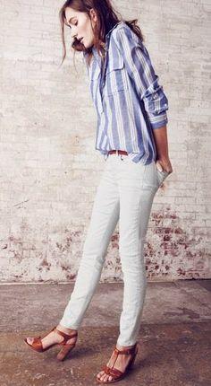 summer white jeans + breezy blouse