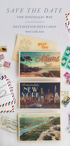 We make every Destination postcard from scratch—even small towns and international destinations. The Destination postcard reminds us of the paper treasures found in your grandparents' old steamer trunk, with elegant lettering atop a vintage scene of your destination. Send a postcard, because no one saves a special email in a shoebox. https://lucky-luxe.com/postcards/scenic-destination/
