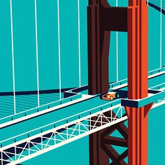 Vector of car on the Golden Gate Bridge